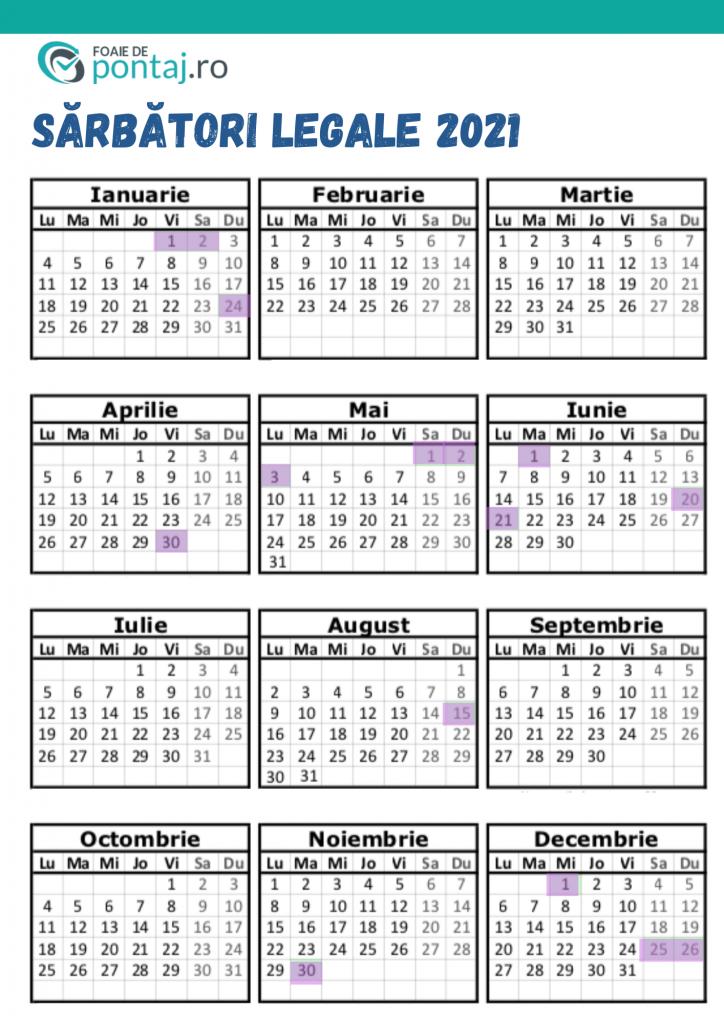 zile libere 2021 pe luna calendaristica